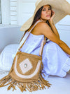 Ophelia Leather Boho Bag - Cream & Blush