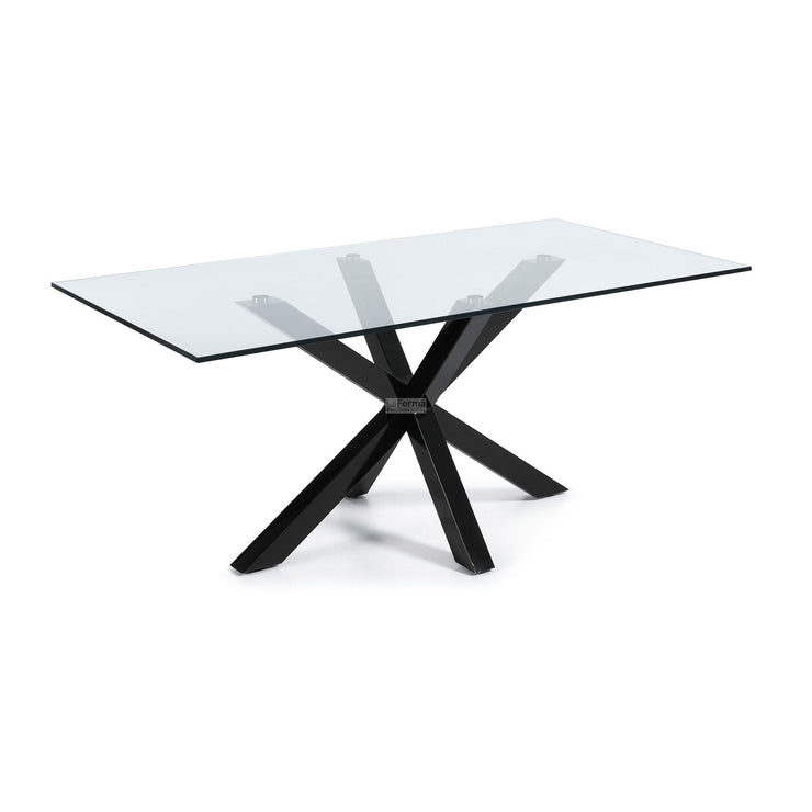 ARYA TABLE 200X100 EPOXY BLACK GLASS CLEAR