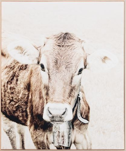 Cow Bell framed canvas print