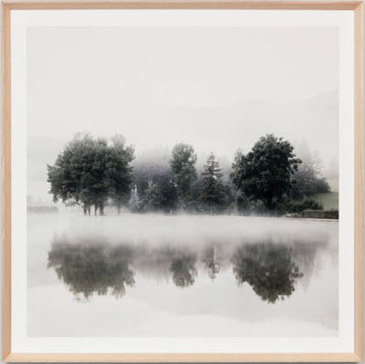 Hazy lake framed print