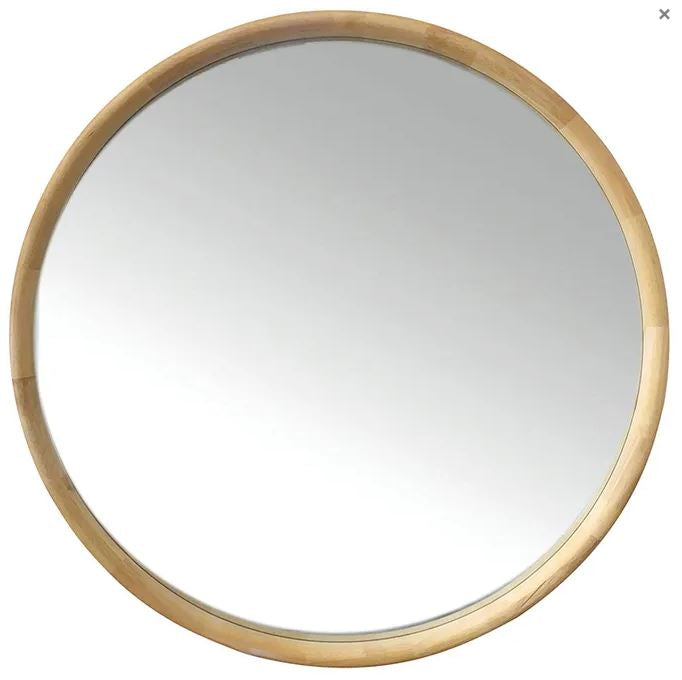 Inga oak round mirror 90cm- LOCAL DELIVERY AVAILABLE
