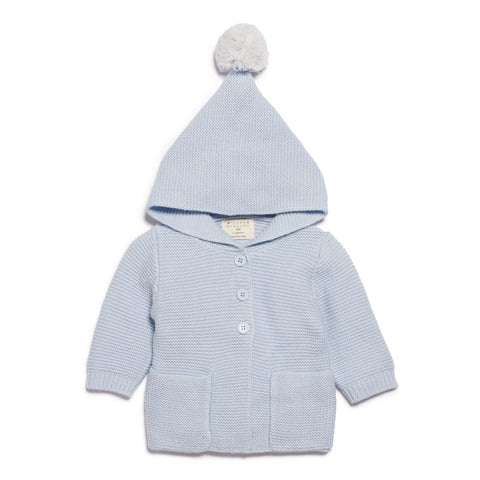 Wilson & Frenchy Cashmere Blue Knitted Jacket with Hood