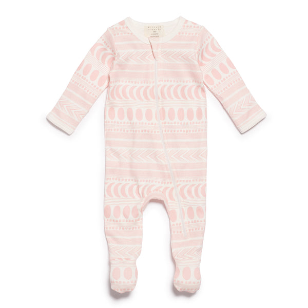 Wilson & Frenchy Pink Moon Aztec Zipsuit with Feet