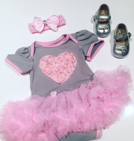 Funkybubba Heart Onsie & Tutu with Bonus Headdband