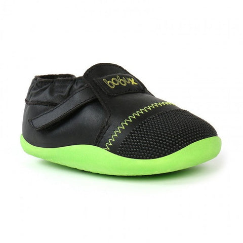 Bobux Xplorer Shoe in Black & Green and Black & Orange