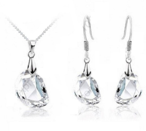 White Crystal Silver Jewelry Set