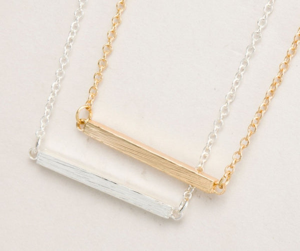 Copper Strip Square Bar Necklace