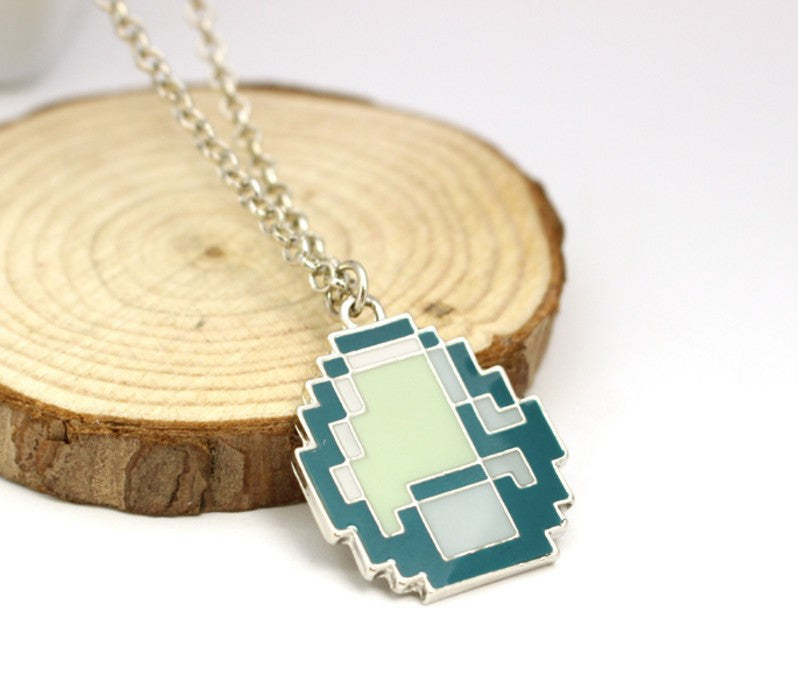 Minecraft Green Strange Cool Face Pendant Necklace