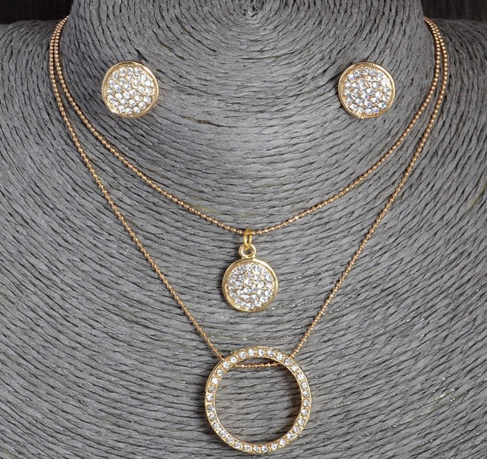 Austrian Crystal Hollow Chain Necklace Set