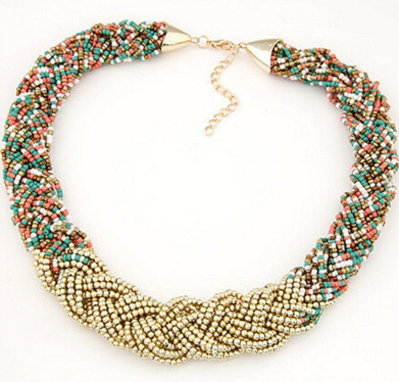 Bohemian Mix Color Bead Chain Necklace