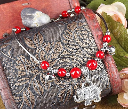 Silver Chain with Color Beads Elephant Pendant Anklet