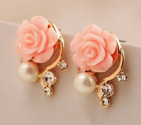 Korean Style Pink Rose Flower Earring