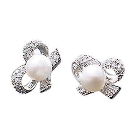 Bow Rhinestone Imitation Pearls Earring