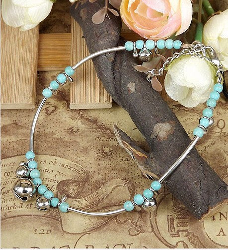Anklets Hoop with Color Beads Charms