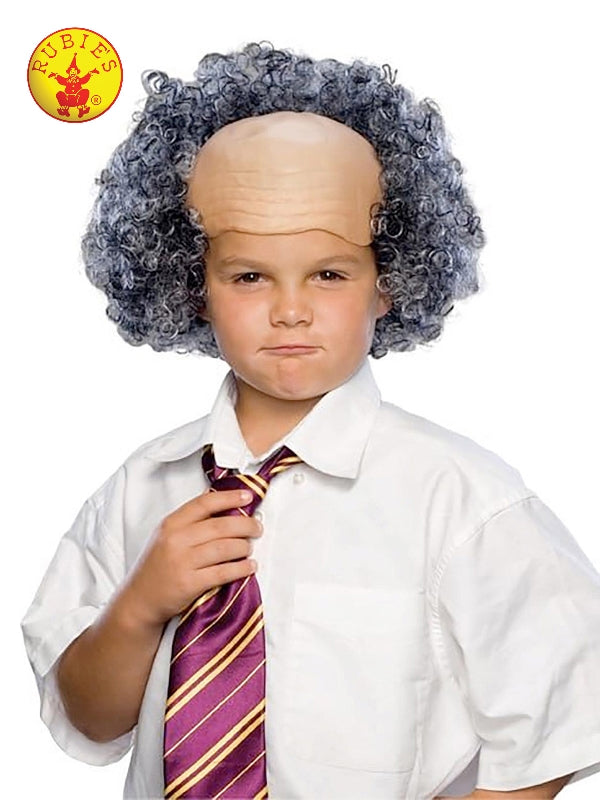 Bald Wig With Grey Curly Sides - Child