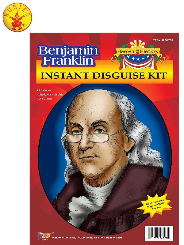 Benjamin Franklin Wig & Eyeglasses Kit - Adult