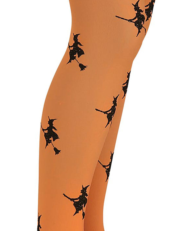 Glitter Witch Tights Orange, Child