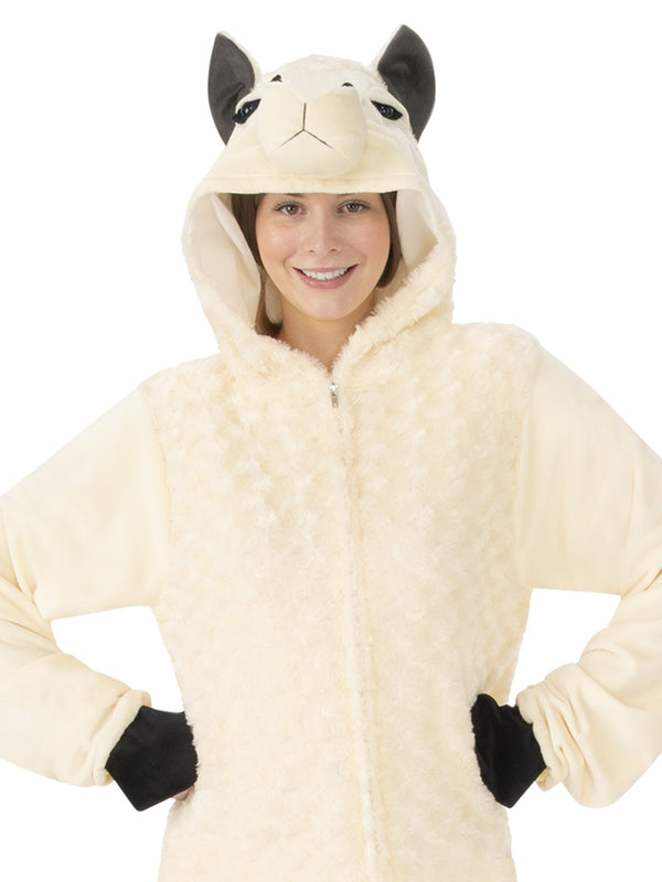 Llama Hooded Onesie Costume, Adult