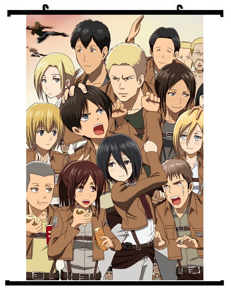 Anime Attack On Titan Group Wall Scroll 01