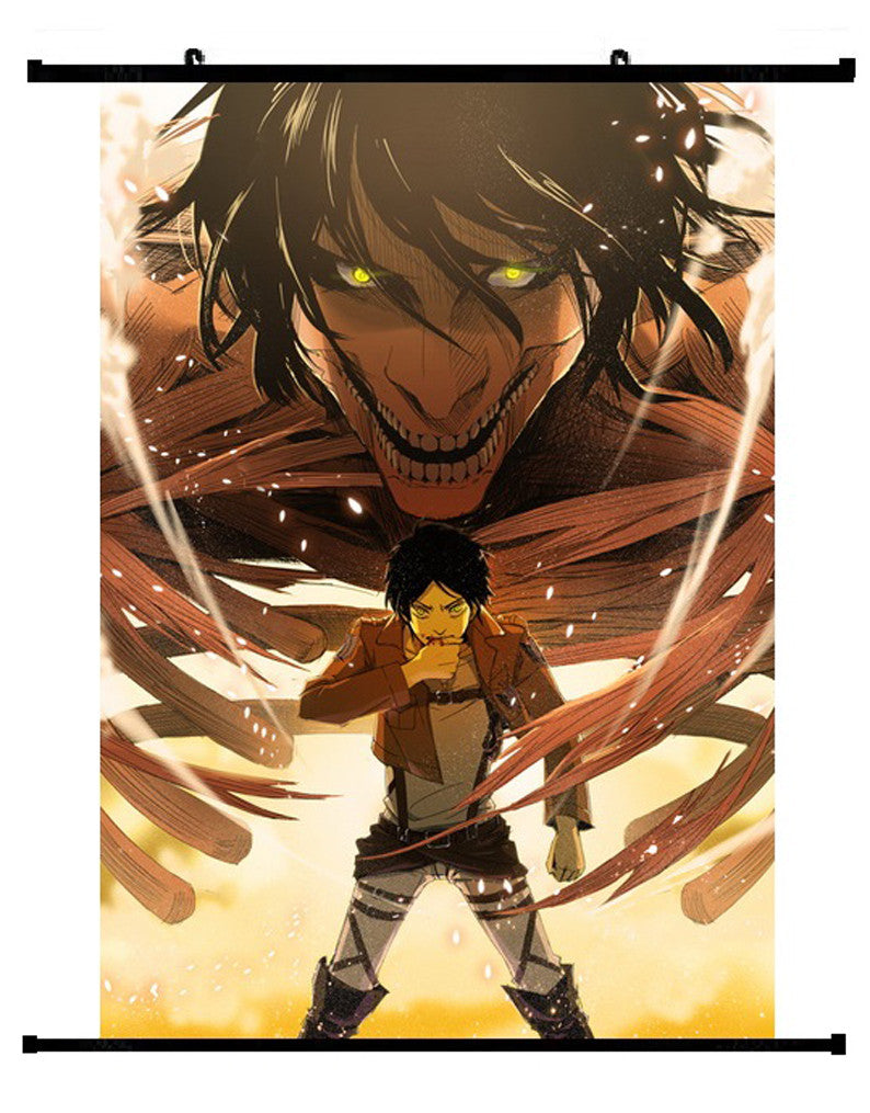 Anime Attack On Titan Eren Yeager Wall Scroll 01