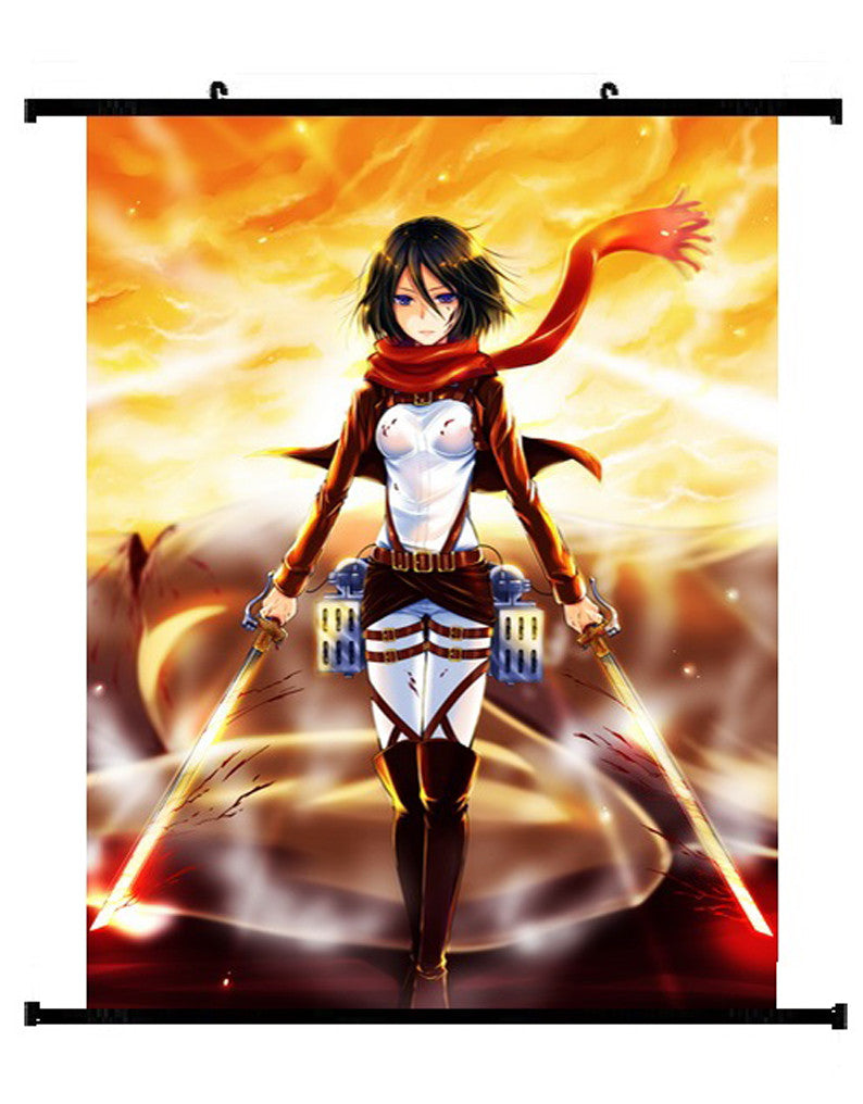 Anime Attack On Titan Mikasa Ackerman Wall Scroll 01