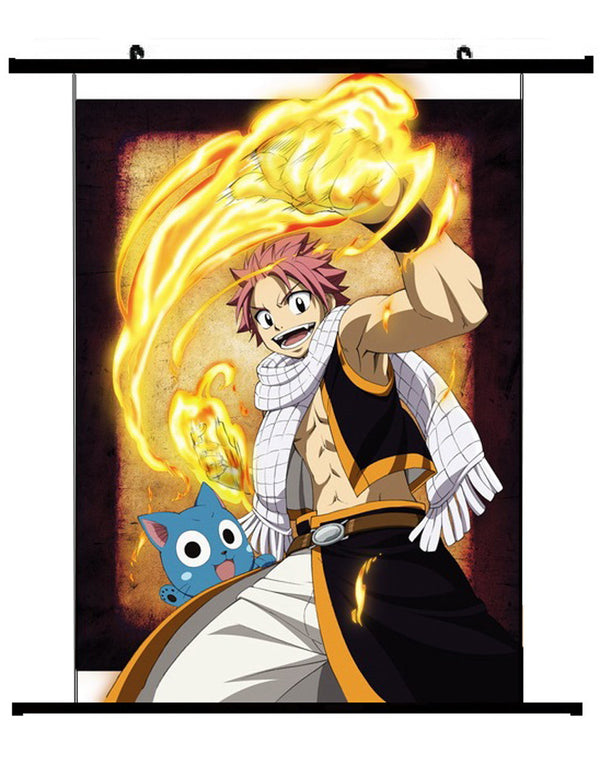 Anime Fairy Tail Happy & Natsu Wall Scroll 01