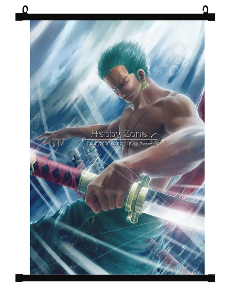 Anime One Piece Roronoa Zoro  2 Years After Wall Scroll 01
