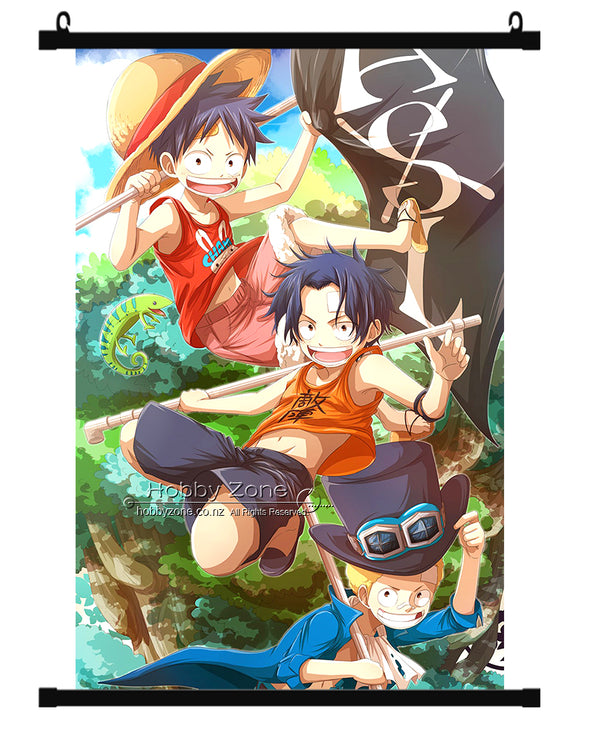 Anime One Piece Kids ASL Ace Luffy & Sabo Group Wall Scroll 02