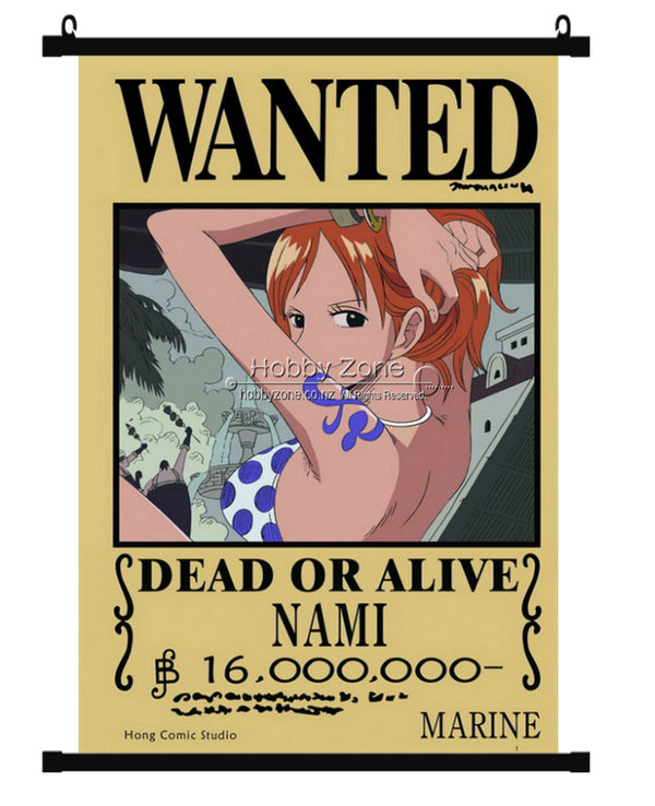 Anime One Piece wanted Nami Wall Scroll