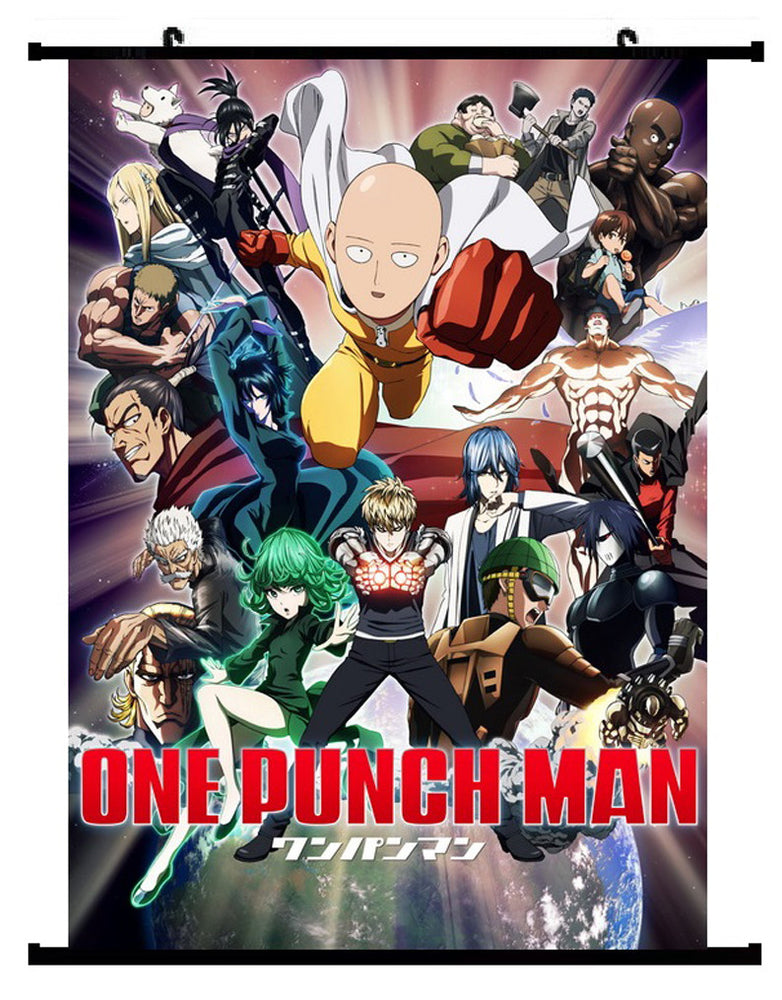 Anime One Punch Man Saitama Group Wall Scroll 01