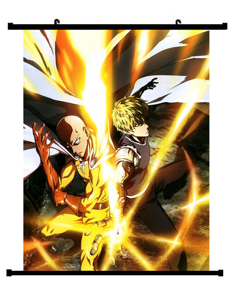 Anime One Punch Man Saitama VS Genos Wall Scroll 01