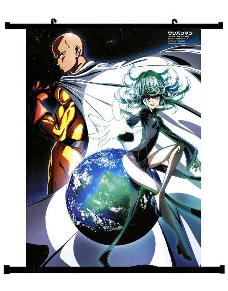 Anime One Punch Man Saitama VS Tornado Wall Scroll 01
