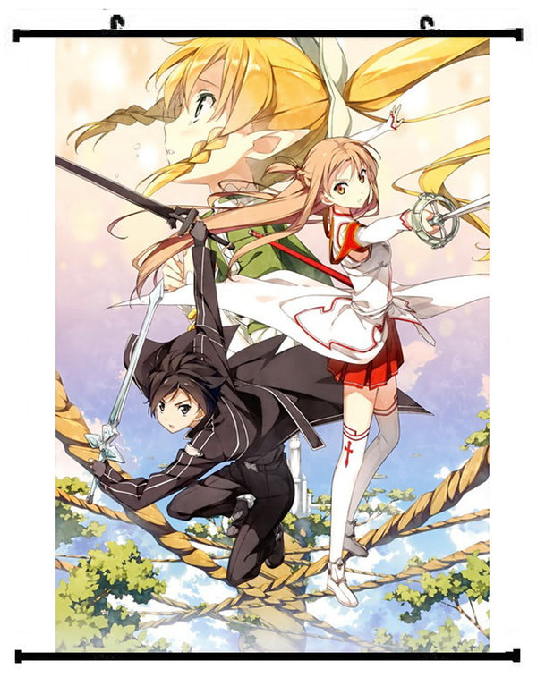 Sword Art Online Kirigaya Kirito & Asuna Yuuki Wall Scroll 02