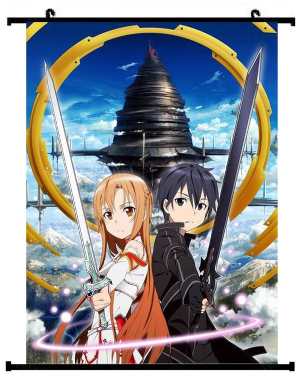 Sword Art Online Kirigaya Kirito & Asuna Yuuki Wall Scroll 01