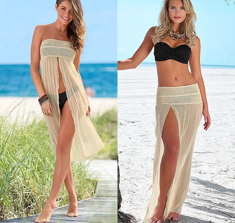 Mesh Hollow Lace Crochet Slit Dress Cover Up