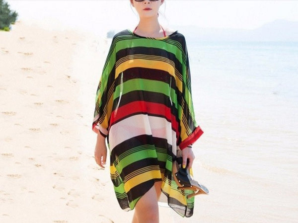 Striped Sexy Beach Dress Cover Up