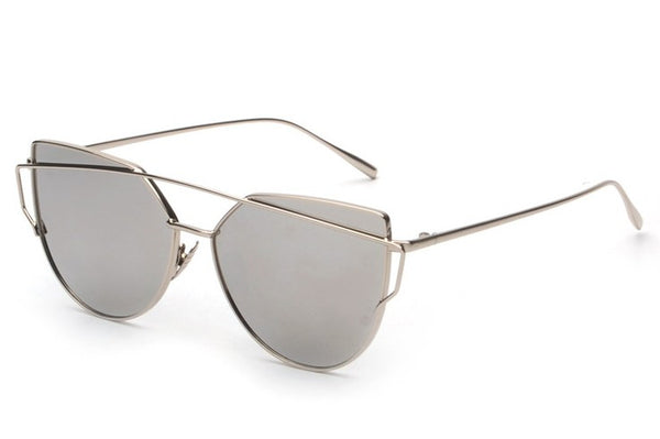 Cat Eye Flat Panel Lens Twin-Beams Sunglasses