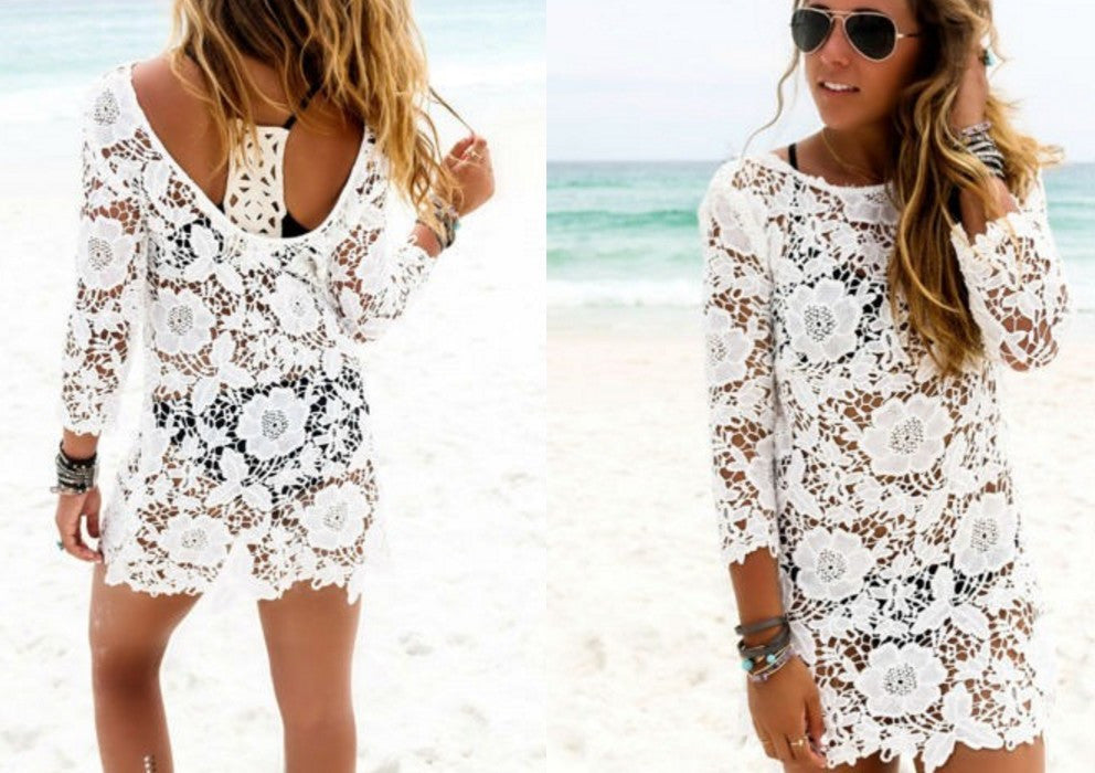 Sexy Lace Crochet Bikini Cover Up