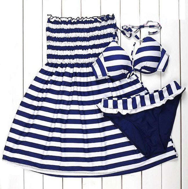 Padded Chest Blue Stripe Bikini Set with Dress