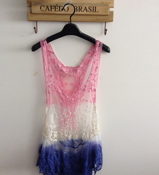 Lace Crochet Hollow Tank Top Cover Up