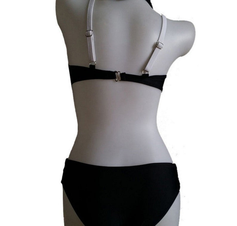 Cross Black and White Bandage Bathing Suit