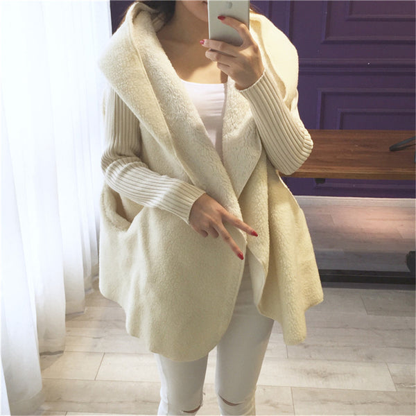 1 kg 2018 new arrival loose Lamb wool cardigan solid color hooded long fashion coat knitted sleeve stitching warm jacket okb10
