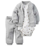 10 models Retail, Baby Boys Cotton Hooded Romper Cardigan+Pant+Bodysuit 3pcs Sets,Jumpsuit Fashion clothing Set, Freeshipping - thefashionique