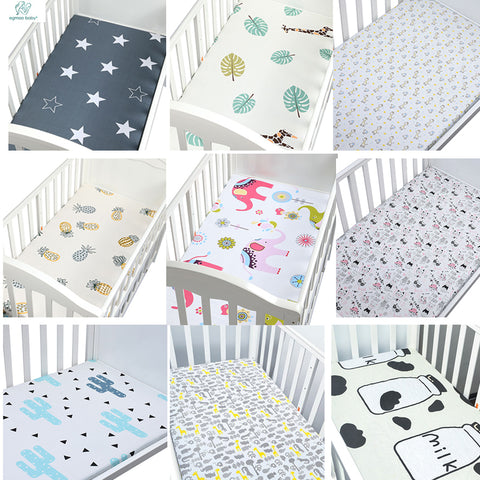 100% Cotton Crib Fitted Sheet Soft Breathable Baby Bed Mattress Cover Potector  Cartoon Newborn Bedding For Cot Size 130*70cm - thefashionique