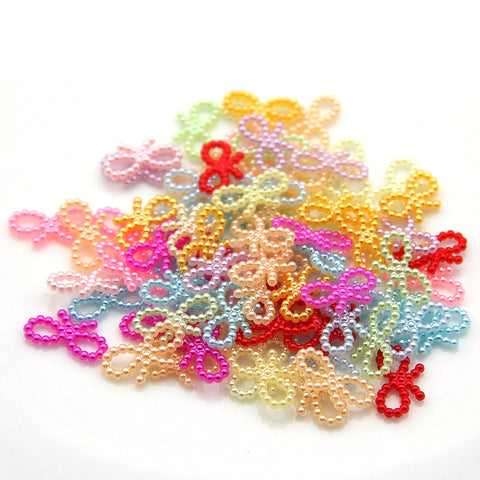 100Pcs/Lot 18mm Imitation Half Pearl Acrylic Butterfly Knot Beads For Diy Making Arts Craft Apparel Handmade Sewing Garment Bead