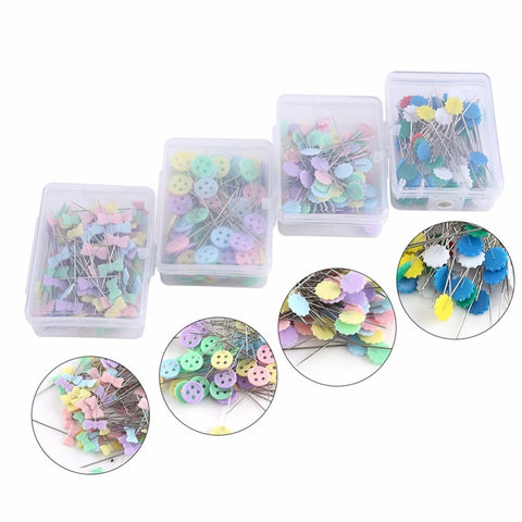 100Pcs/lot Sewing Accessories Patchwork Flower/Bow tie/Button Pins Sewing Pin With Box DIY Sewing Patchwork Pins Arts Crafts - thefashionique