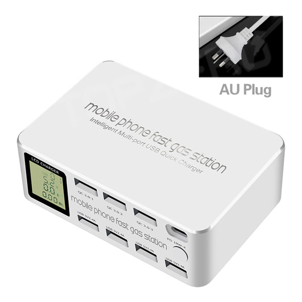100W 8 Ports LCD Display Quick Charge 3.0 USB Charger Adapter HUB Type C PD Fast Phone Charger For iPhone Huawei Samsung Xiaomi