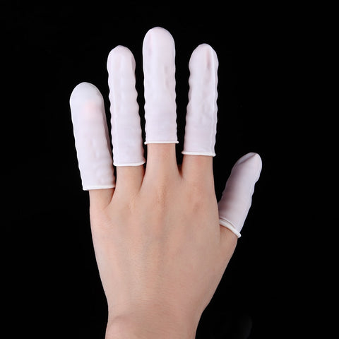 100pcs Rubber Latex Finger Cots Glove for Makeup Eyebrow Eyelash Extension Practical Disposable Anti Static Off Tool Accessories - thefashionique