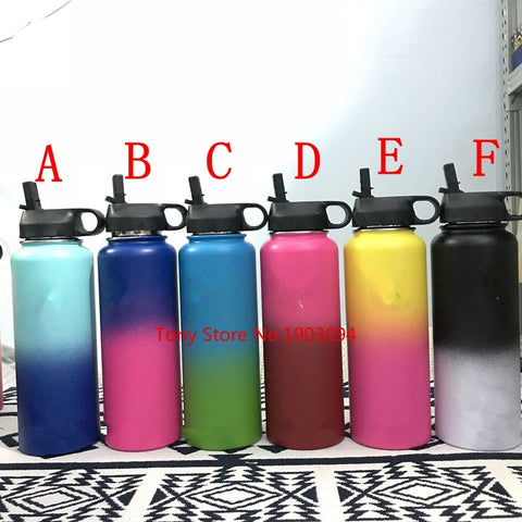 100pcs/lot 2018 Colorful  Insulated Stainless Steel Water Bottles 18OZ/32OZ/40OZ Wide Mouth with Sport Lids - thefashionique