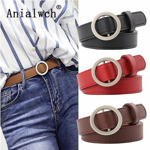 5bc55a24fbe 105X2.3CM Ladies Silver Round buckle black belts for women Student Jeans  wide decorative dress